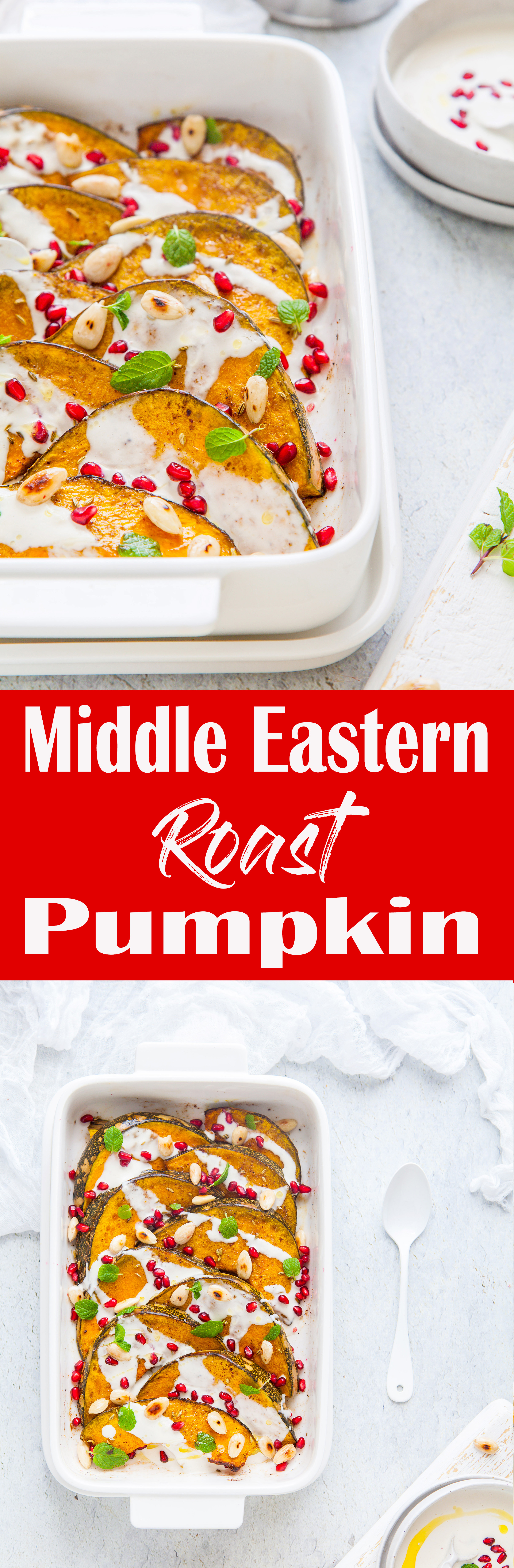 Middle Eastern Roast Pumpkin With Garlic & Yoghurt Tahini Dressing {GF, DF)