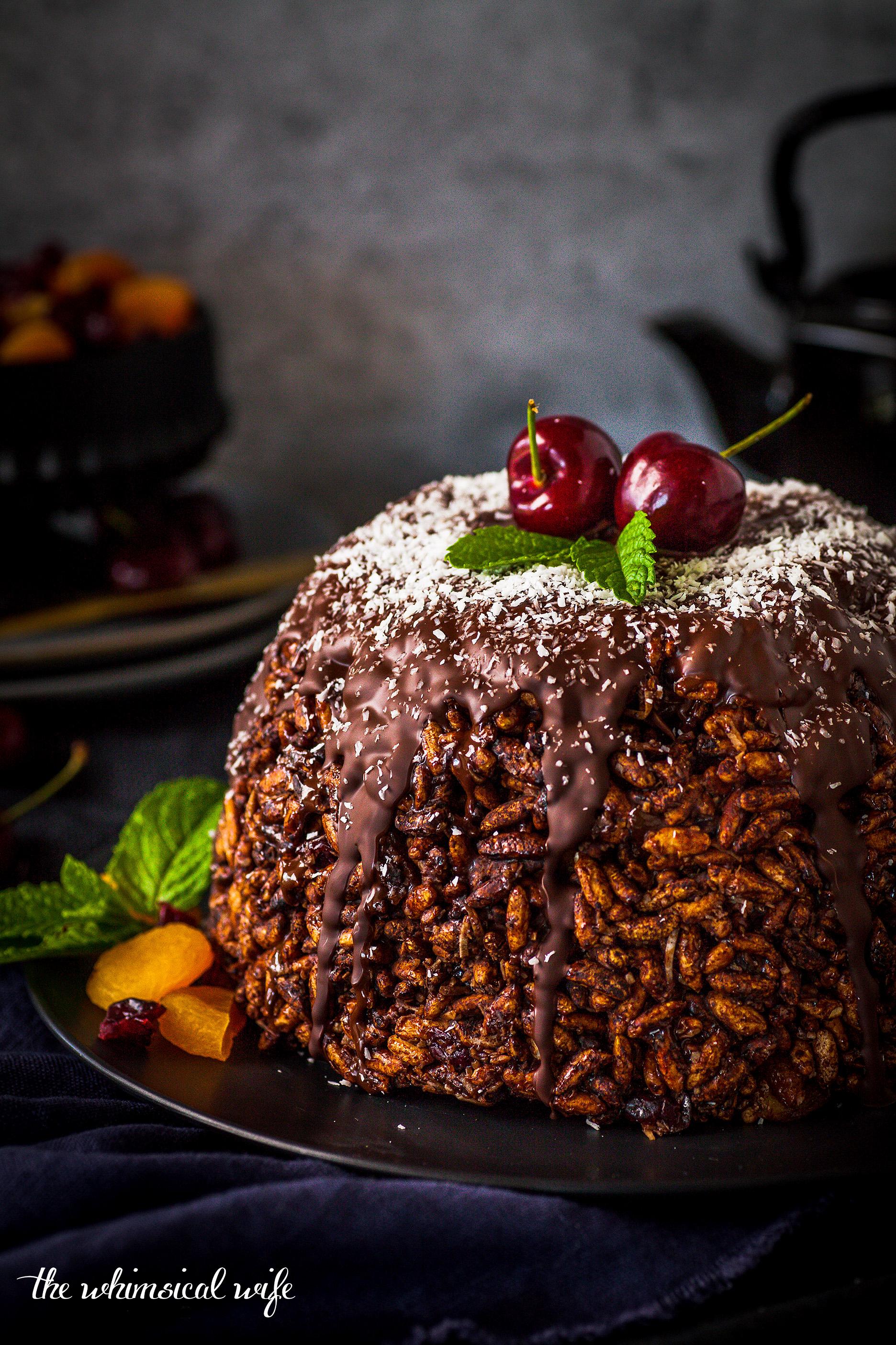 Chocolate Rice Crispy Christmas Pudding (GF, DF, Nut & Egg Free)