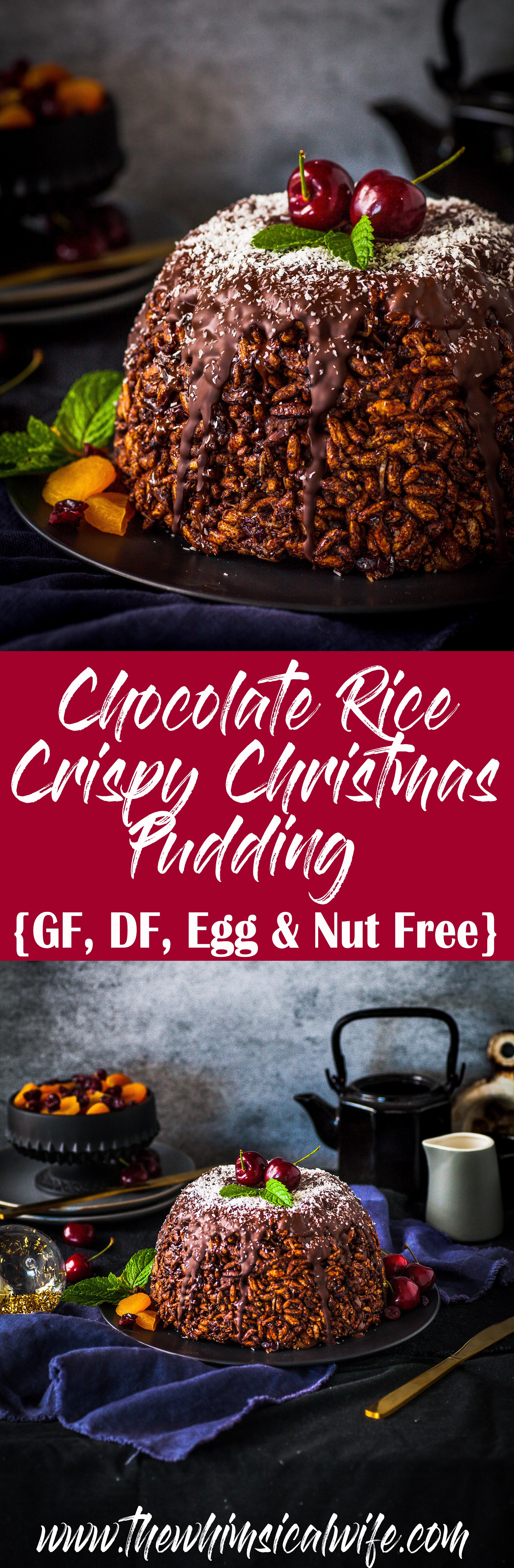 Chocolate Rice Crispy Christmas Pudding (GF, DF, Nut & Egg Free) - thewhimsicalwife.com