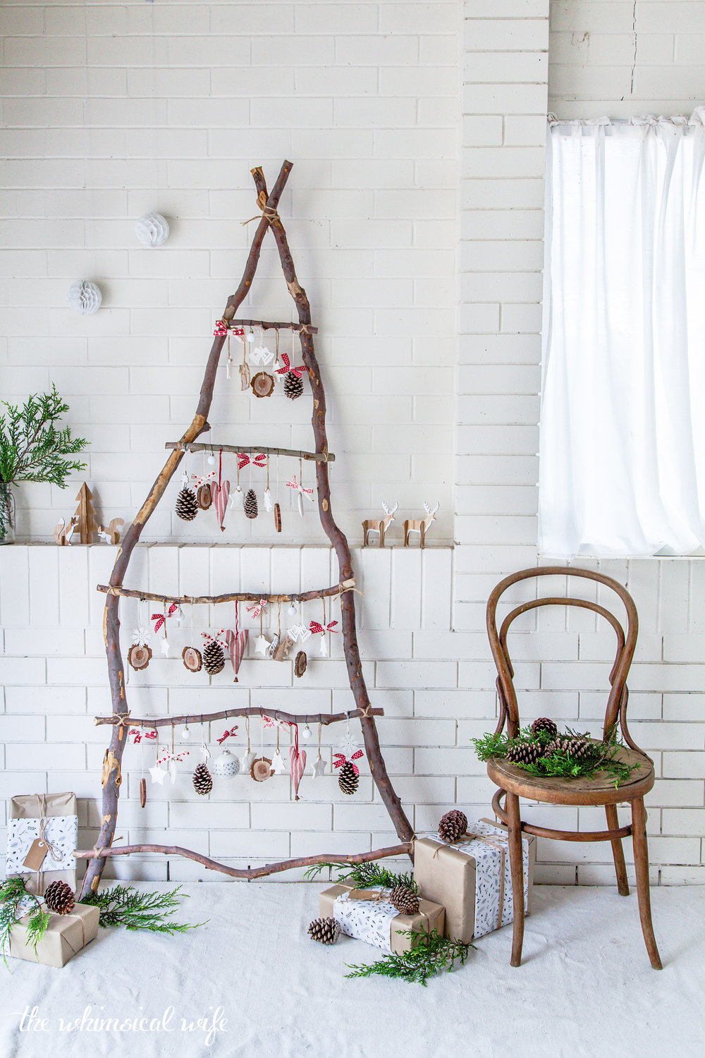 Rustic Scandinavian Ladder Christmas Tree The Whimsical Wife Cook Create Decorate