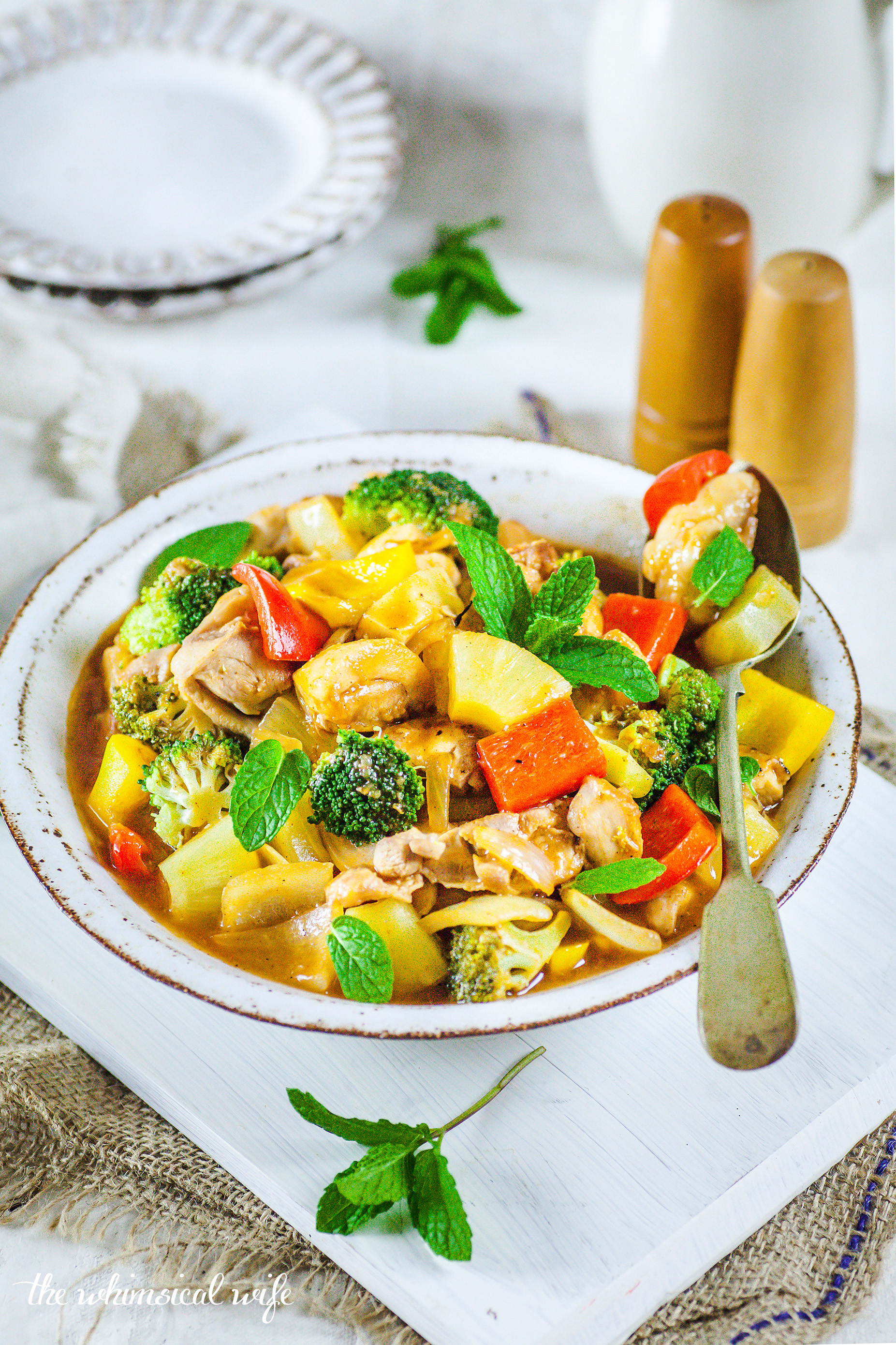 Healthy Sweet & Sour Chicken & Vegetables + Slow Cooker Version
