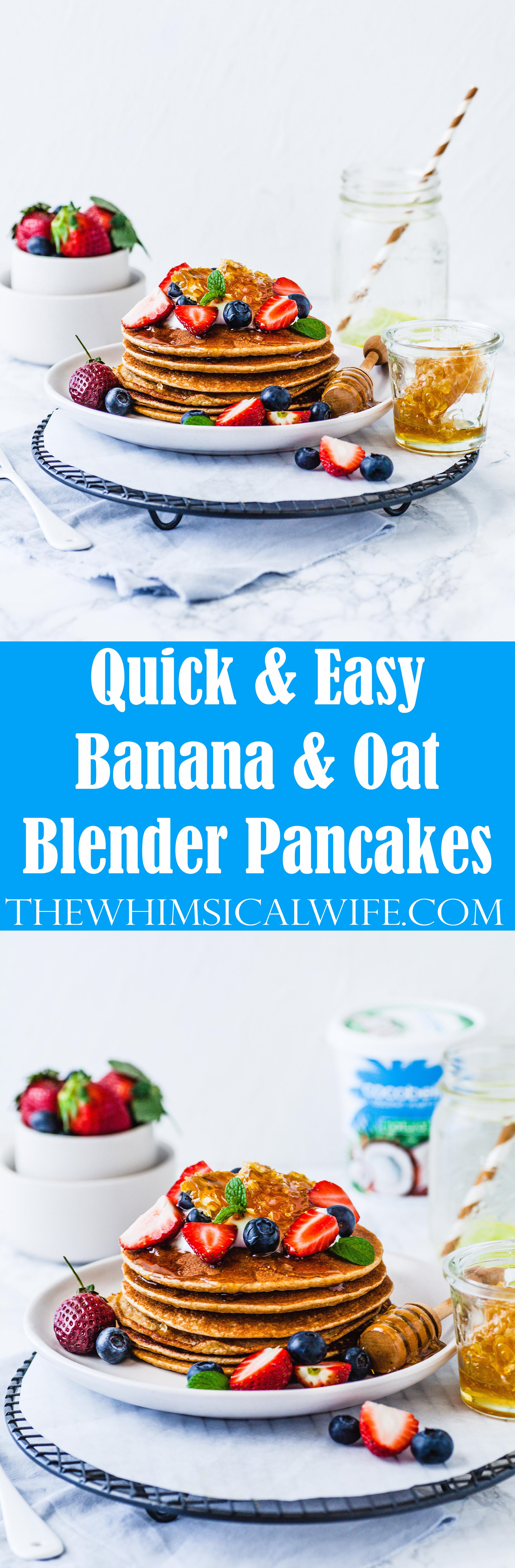 Quick & Easy Banana & Oat Blender Pancakes | The Whimsical Wife