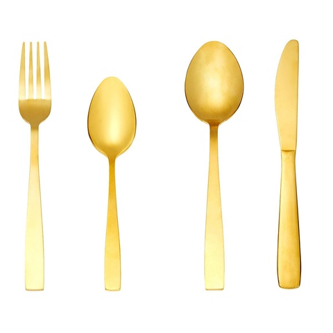 16 Piece Gold Look Cutlery Set