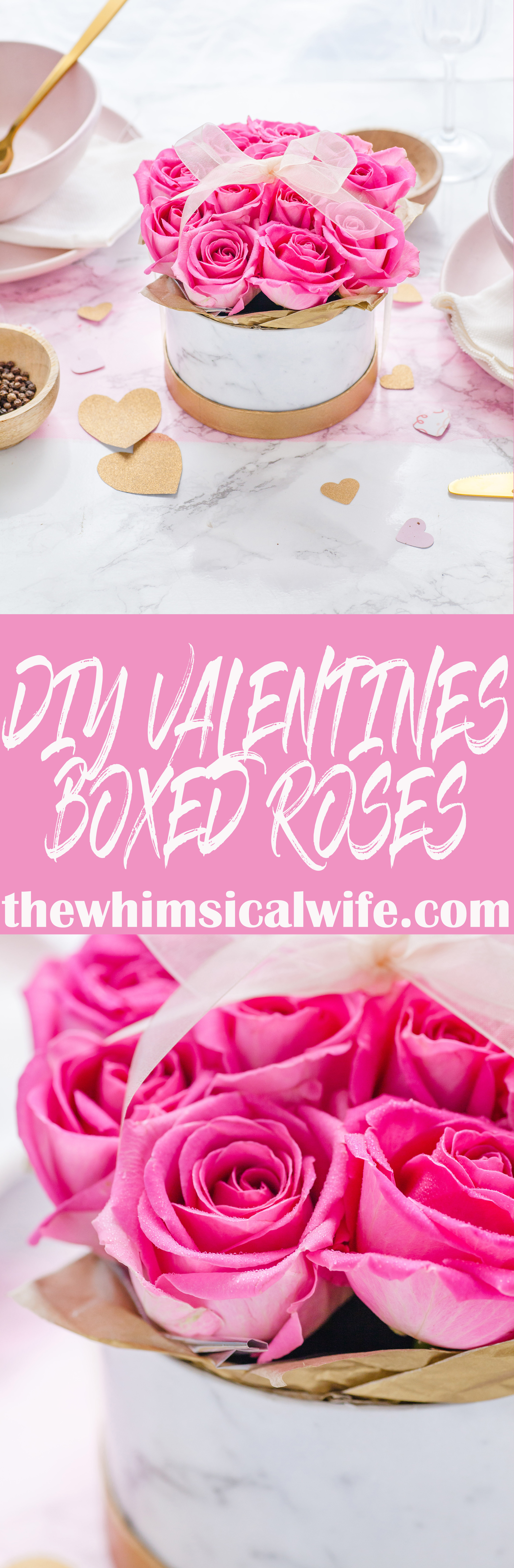 DIY Valentines Boxed Roses + Video | The Whimsical Wife