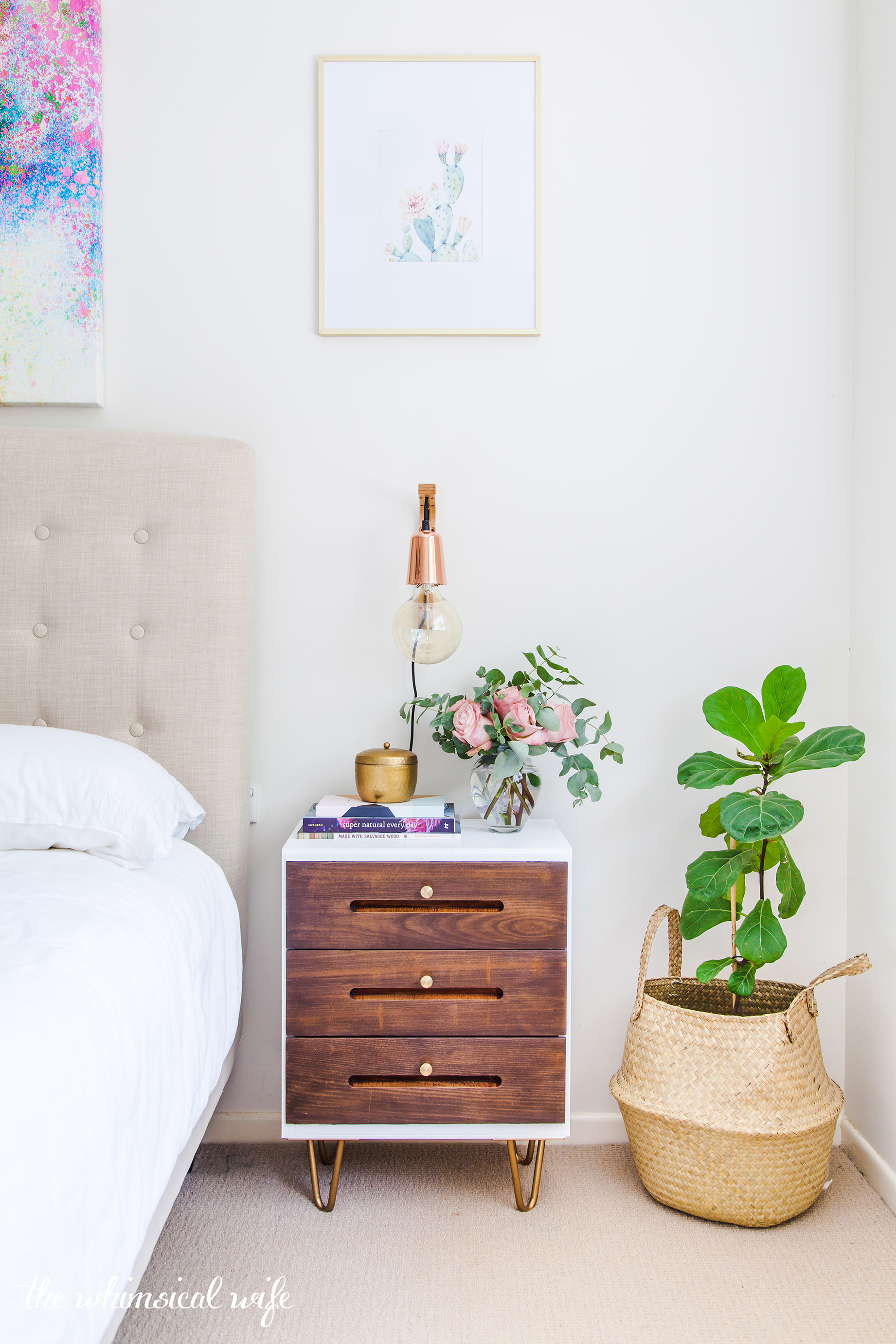 Mid Century Modern Side Table Makeover | The Whimsical Wife