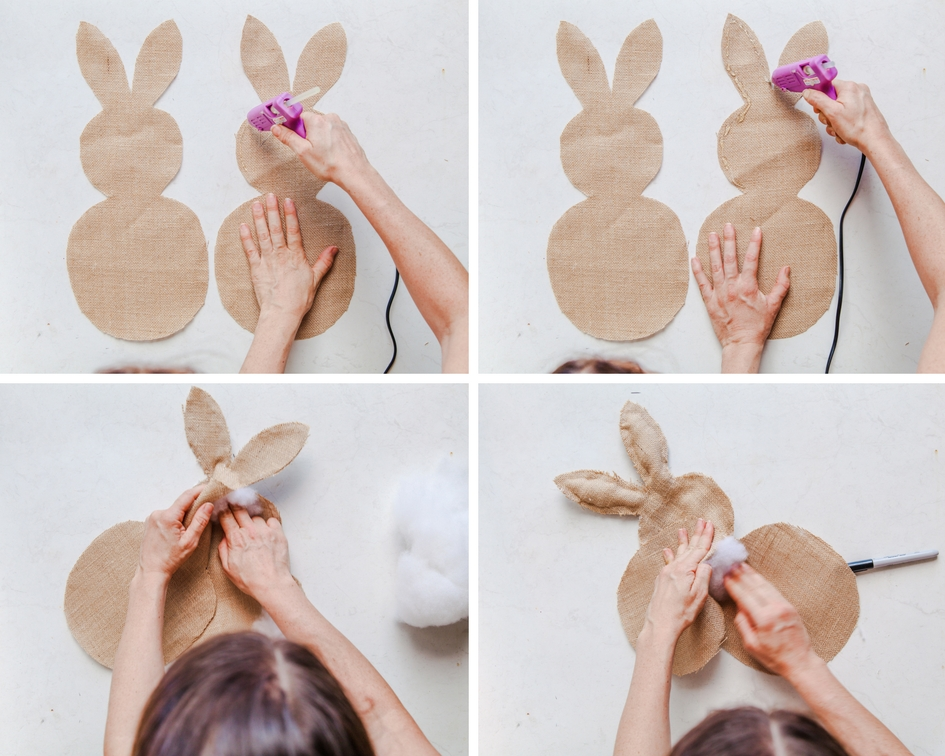 How To Make A Burlap Easter Bunny Hanging | The Whimsical Wife