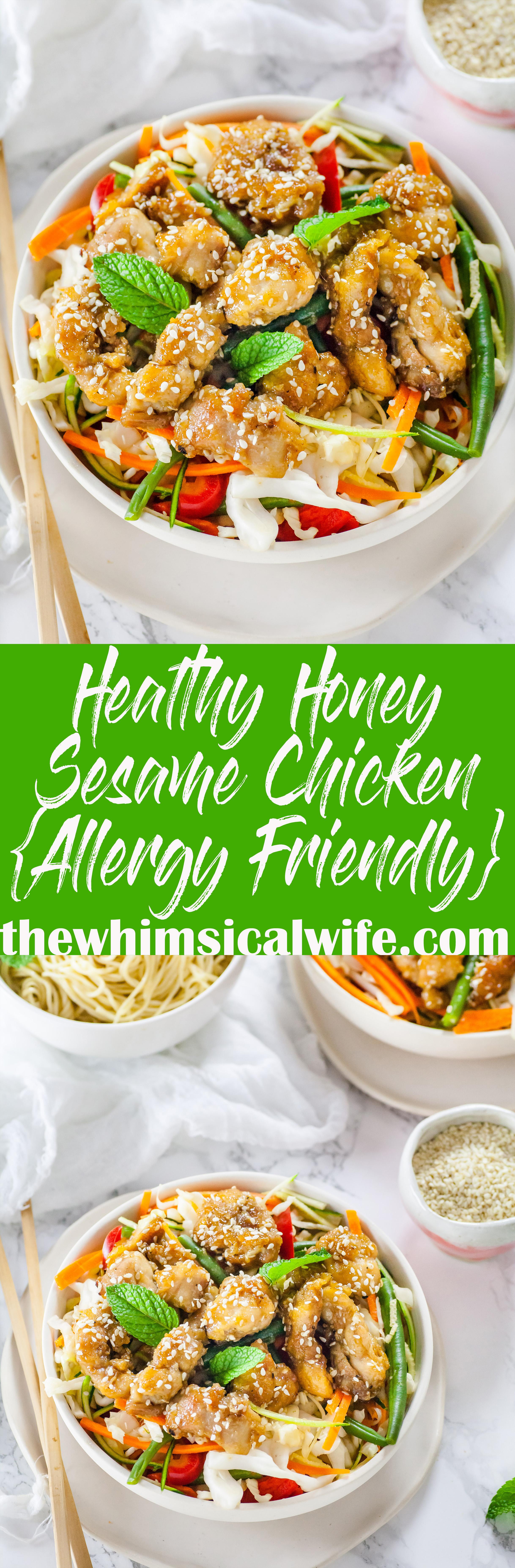Healthy Honey Sesame Chicken { GF, DF, Nut & Egg Free}