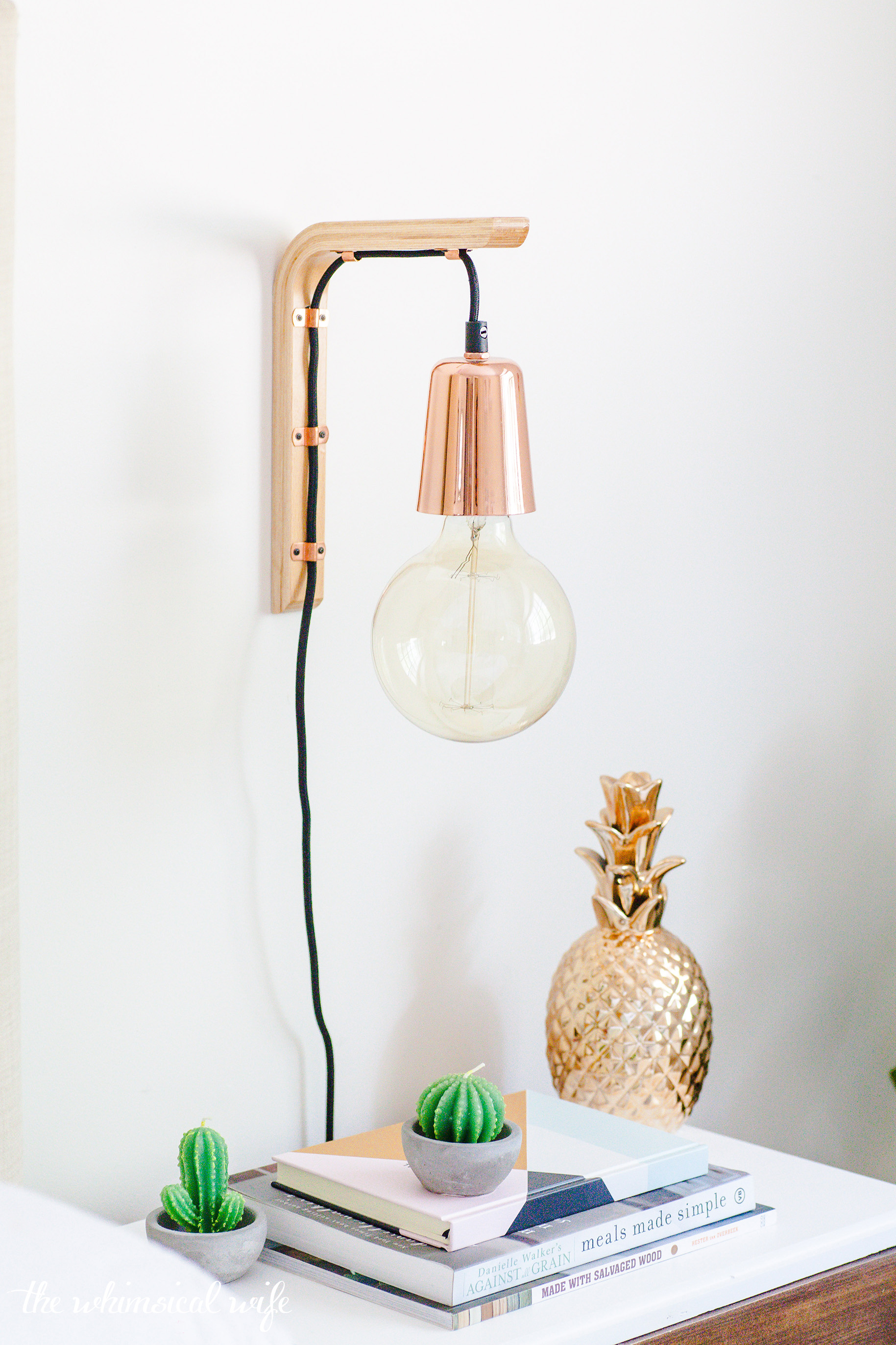 How To Make A Modern Hanging Wooden Wall Bracket Light   The Whimsical Wife