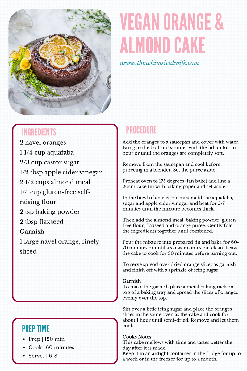 Orange & Almond Cake {Vegan, Gluten & Dairy Free} | The Whimsical Wife