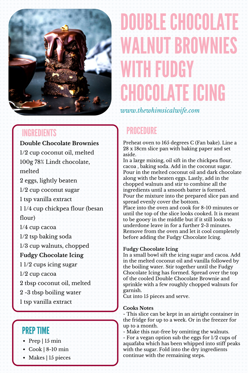 Double Chocolate Walnut Brownies With Fudgy Chocolate Icing {DF, GF} | The Whimsical Wife