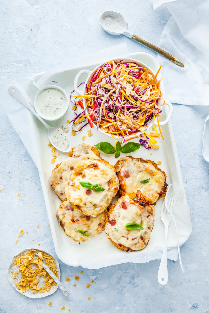 Cheesy Sun Dried Tomato & Basil Inglewood Organic Chicken Schnitzel With Crunchy Rainbow Slaw | The Whimsical Wife