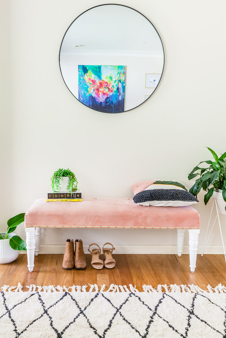 DIY Blush Pink Velvet Bench Seat + Video | The Whimsical Wife