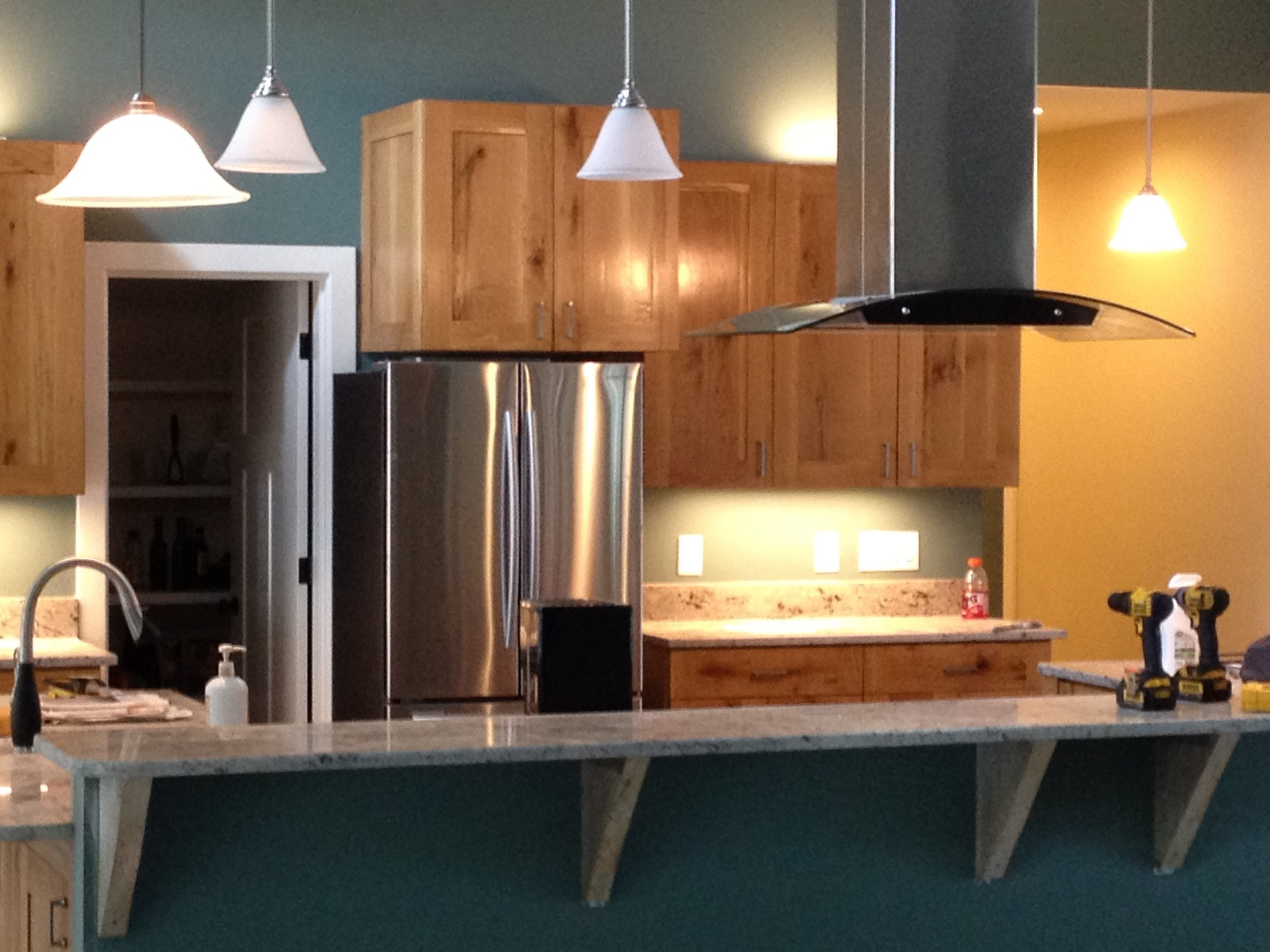 White Oak cabinetry built from a couple trees on the house site.
