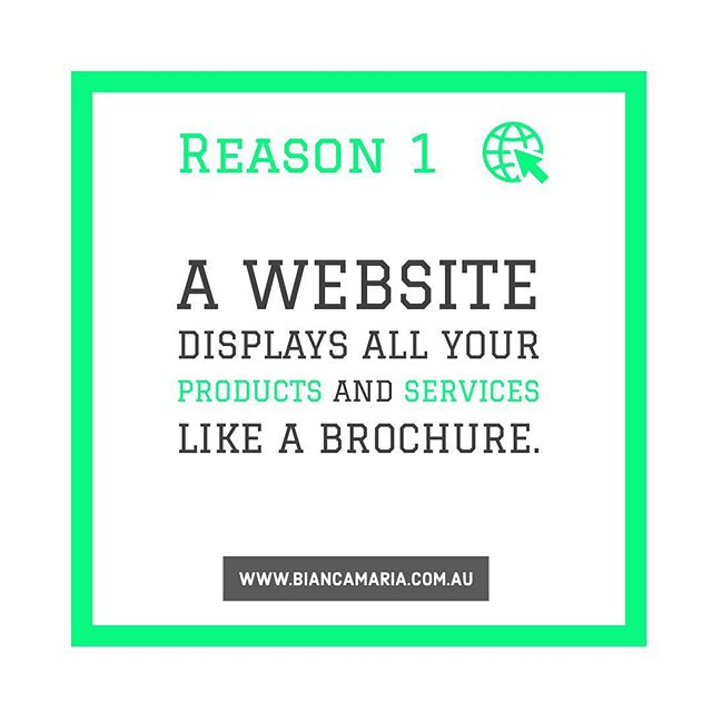 Big companies can spend millions creating brochures and distributing them. Having a website allows you to skip that entirely. Your potential customers can find out about you and any of your products or services online. If you get most of your business through networking and personal connections, then they will want to check out your website.  Read more on www.biancamaria.com.au  #website #marketinginperth #marketing #perth #smallbusiness #foodtruckers #coffeeshops #entrepreneurs