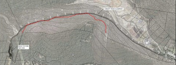 Aerial map view of the Tip Top Mountain-biking track, funded and built by Counci, with the Access Road over most of it.
