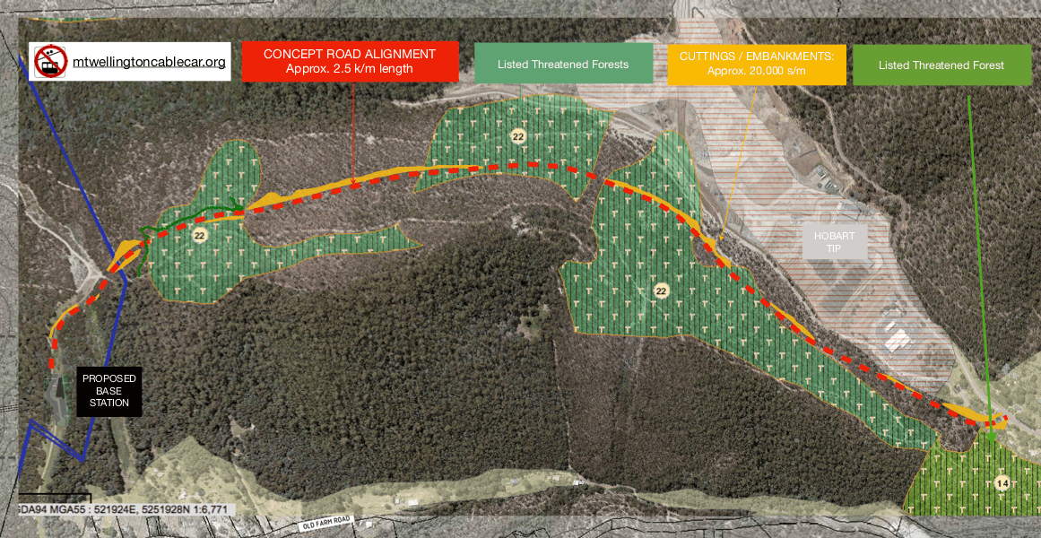 The MWCC Access Road cuts through all three stands of the Threatened Silver Peppermint forest groves.