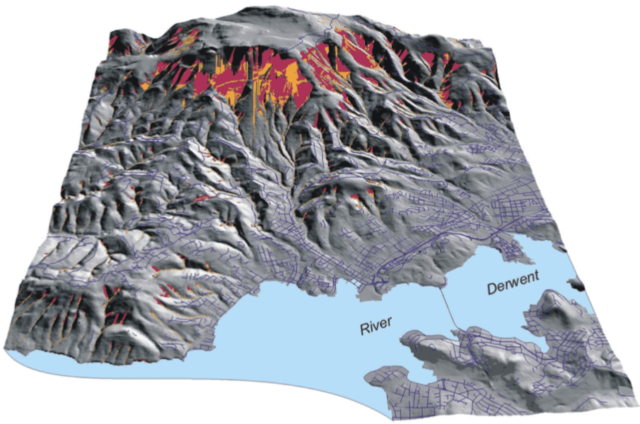The brown landslip ring mapped opposite becomes clear when pictured in 3D. Steep slopes magnify landslip risk.