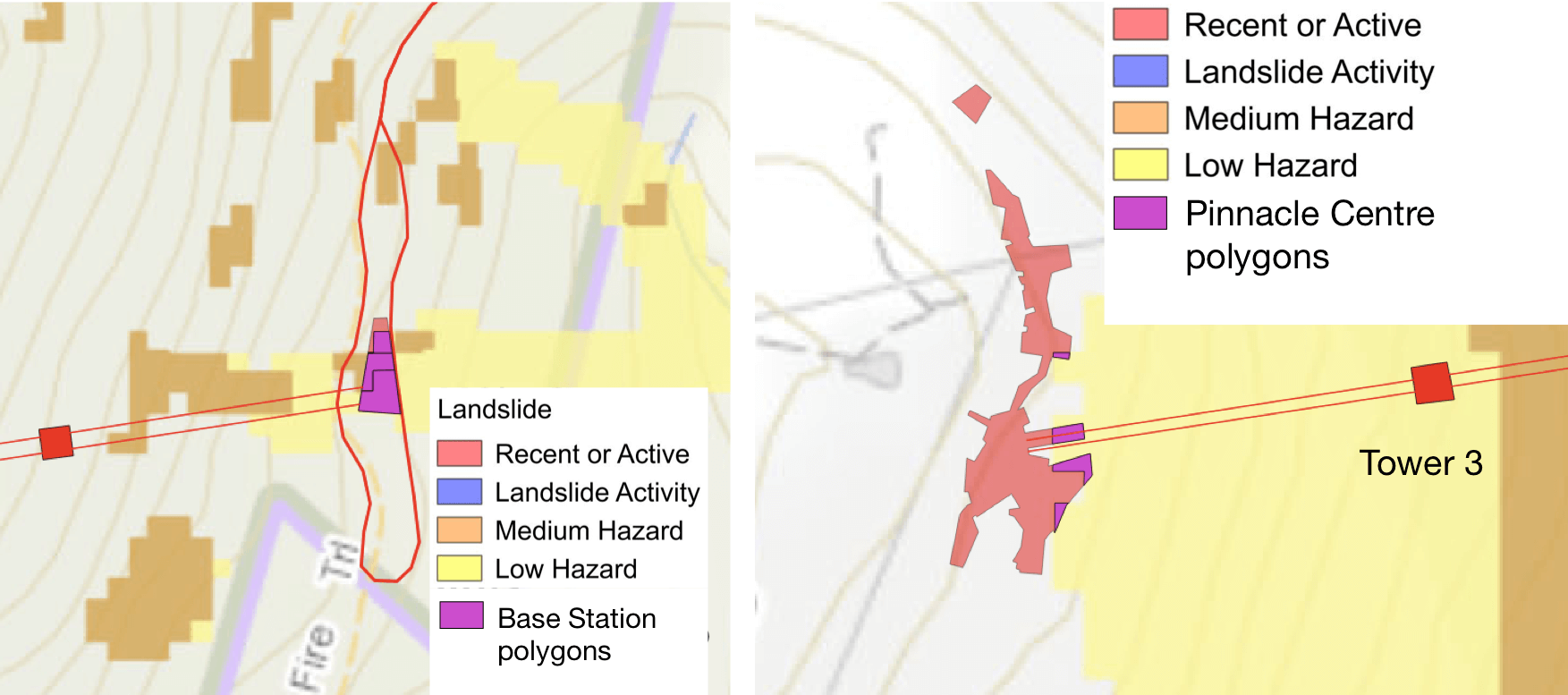 High precision overlays of MWCC facilities over Mineral resources Tasmania landslide maps. Base Station (left) and Pinnacle Centre (right).