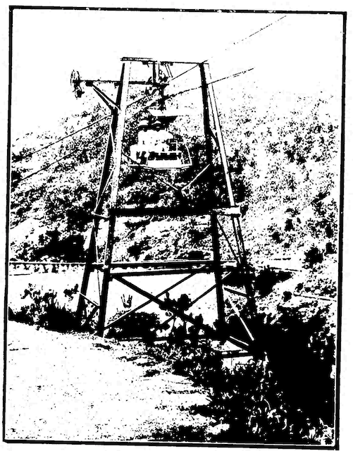 Hong Kong's aerial railway, capable of carrying six passengers, pictured in  The Tasmanian Mail , 24 June 1905