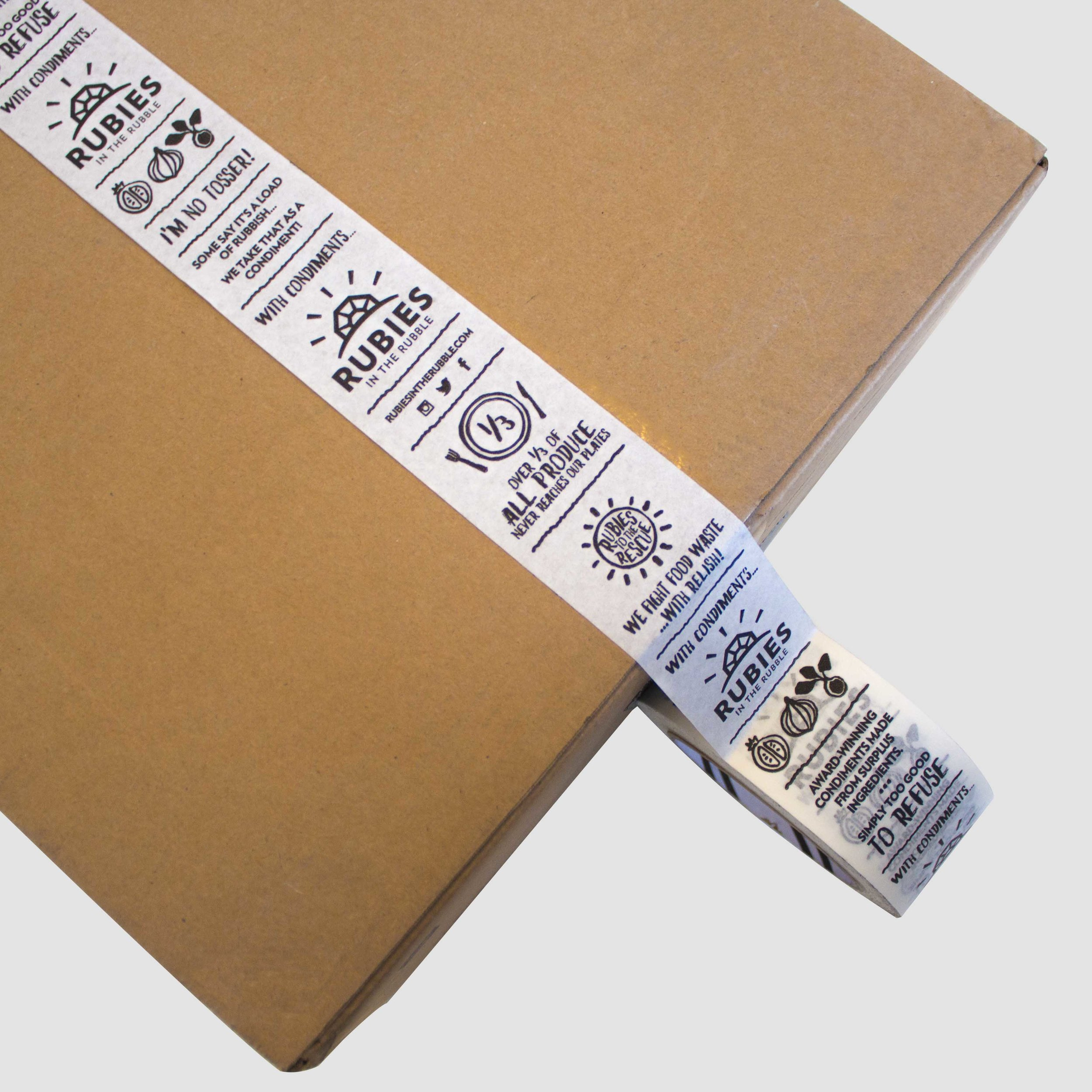 We recently printed some packing tape as a way of branding any parcels we send out in a cost effective way.
