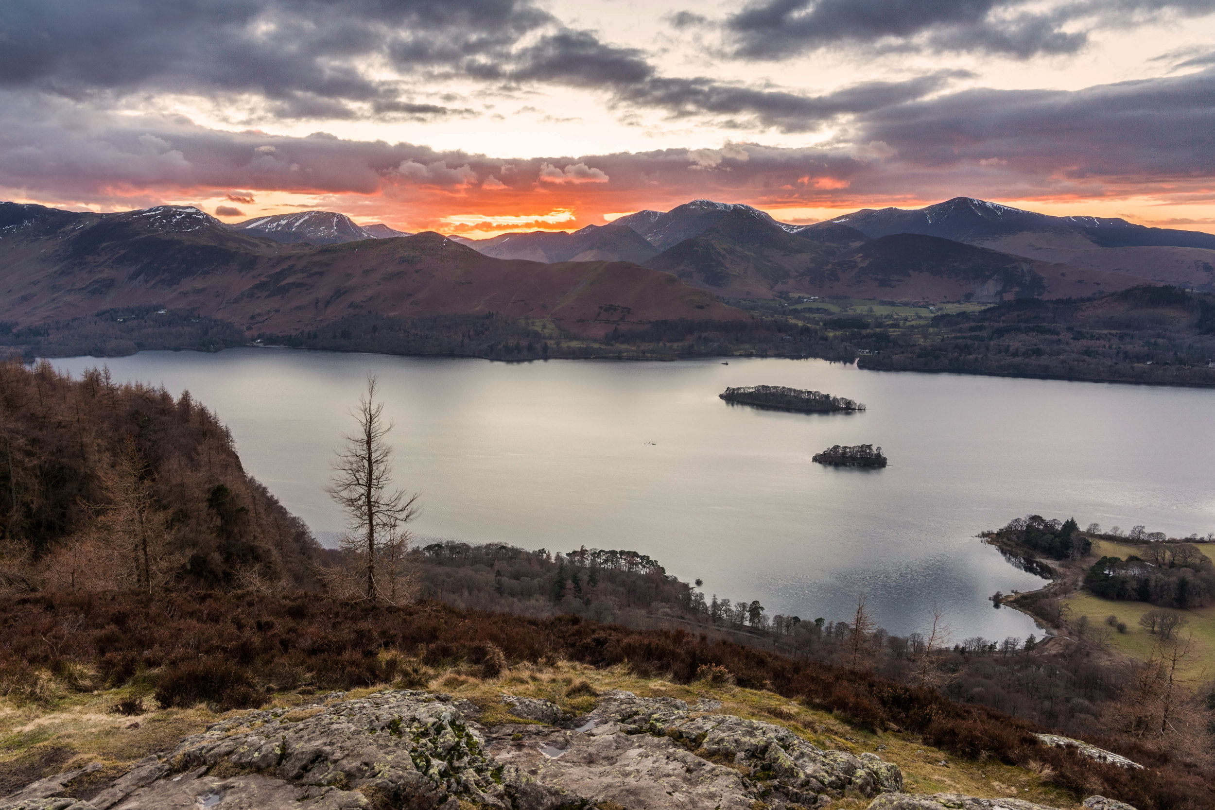 Burning Clouds over Cat Bells and Derwentwater.