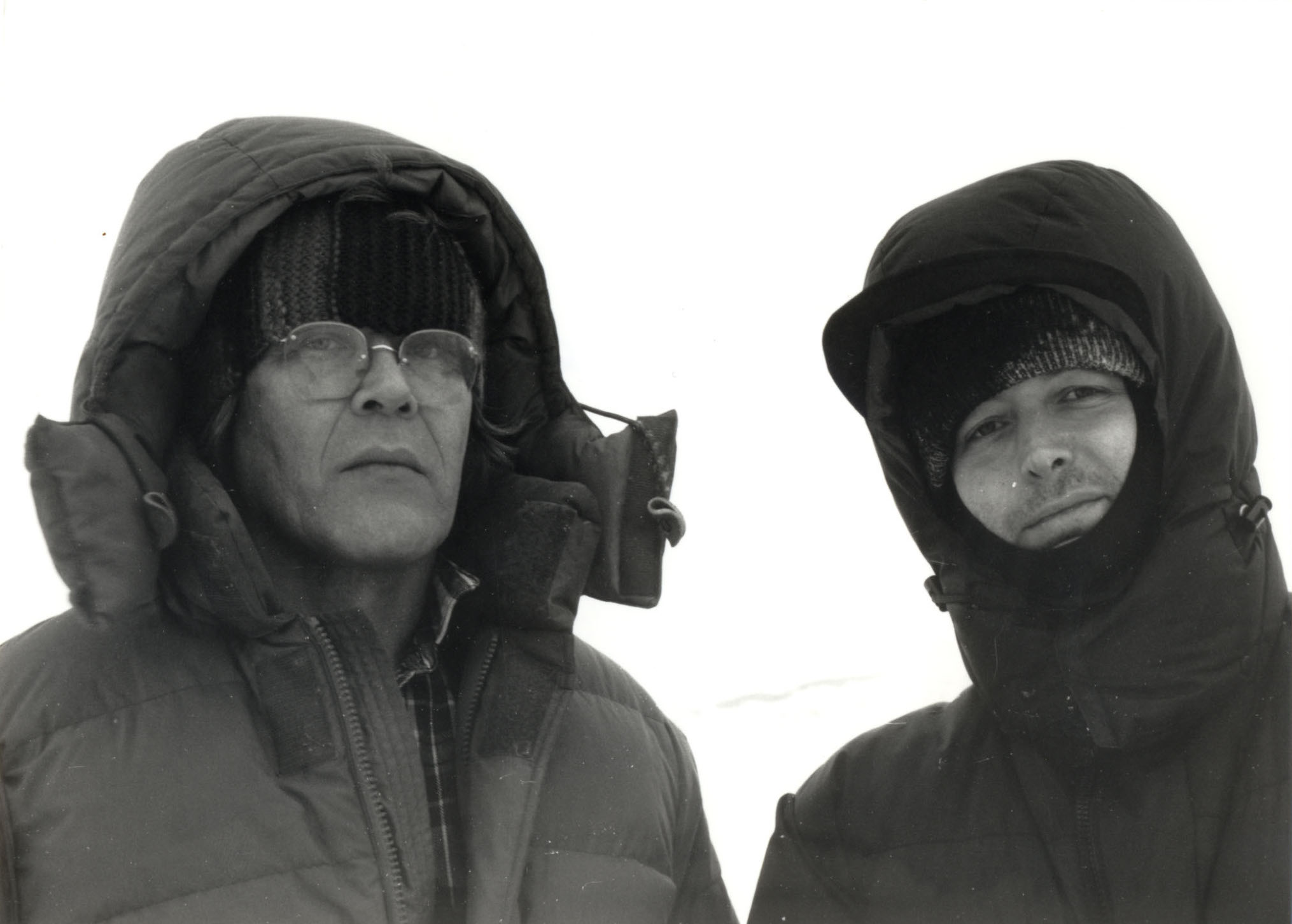 Andreas Züst and Peter Mettler in Churchill, Manitoba, during the filming of   Picture of Light.