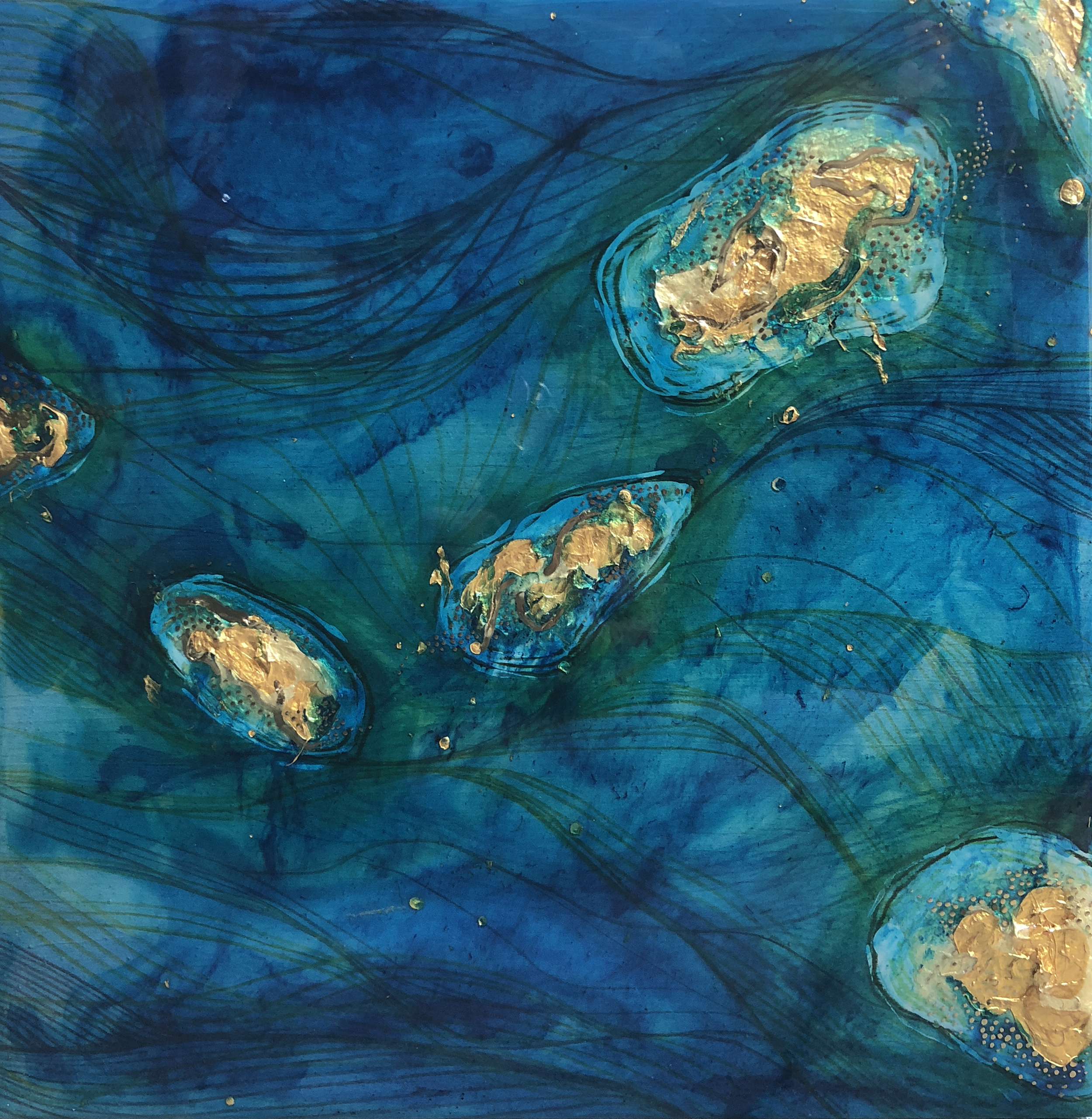 No man is an Island. - This piece is inspired by Randall's love of the Indonesian Islands, his weaving and fluid style of storytelling, and his deep-rooted connection to his family and his faith. Just like the land he so loves, he is a part of an ecosystem of experiences, and has witnessed the ebb and flow of these events over the course of his life. Like the constant flow of waves along a shoreline, the passage of time can do so much to change our own landscapes as well.
