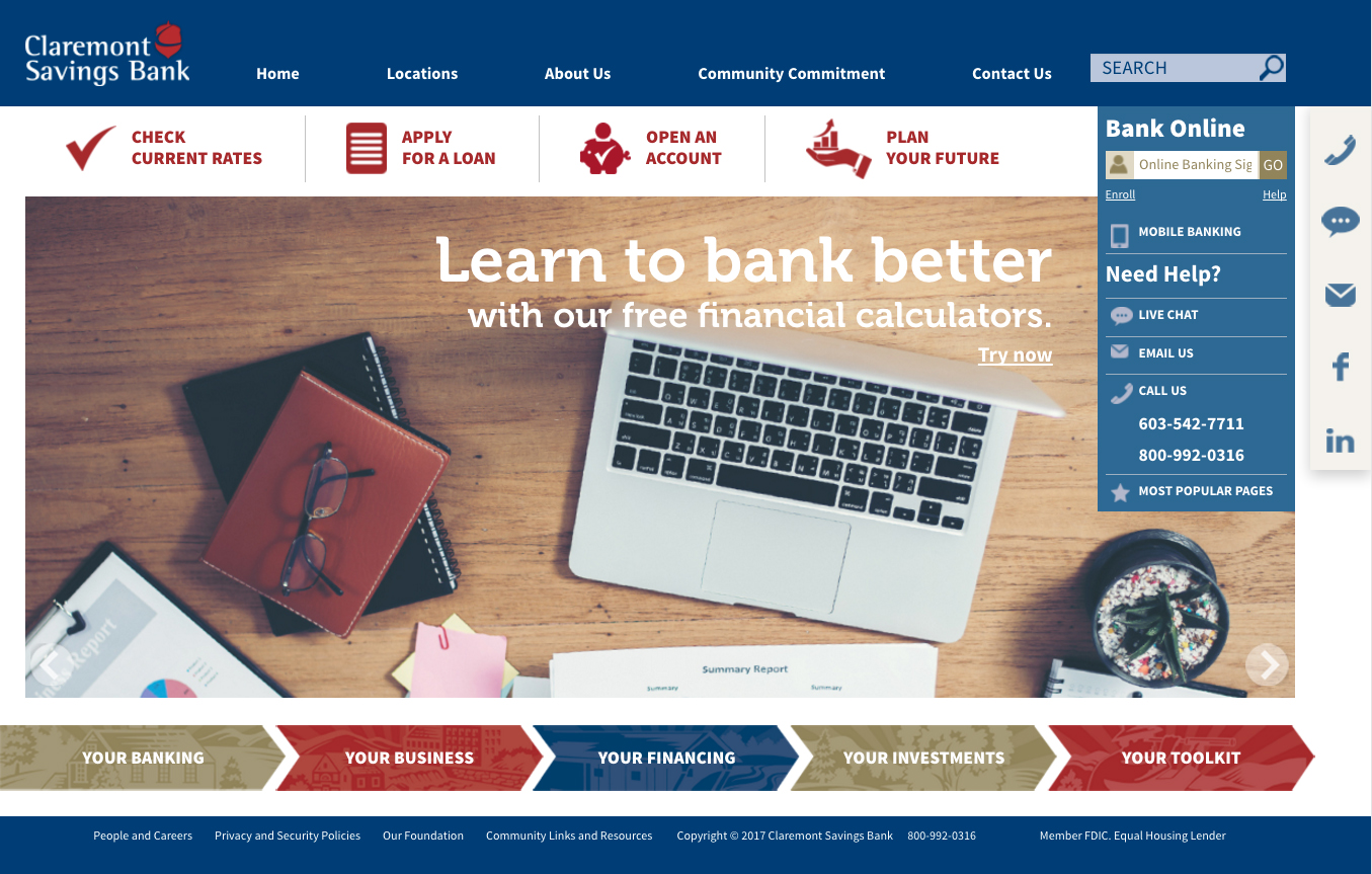 Claremont Savings Bank - Website Redesign