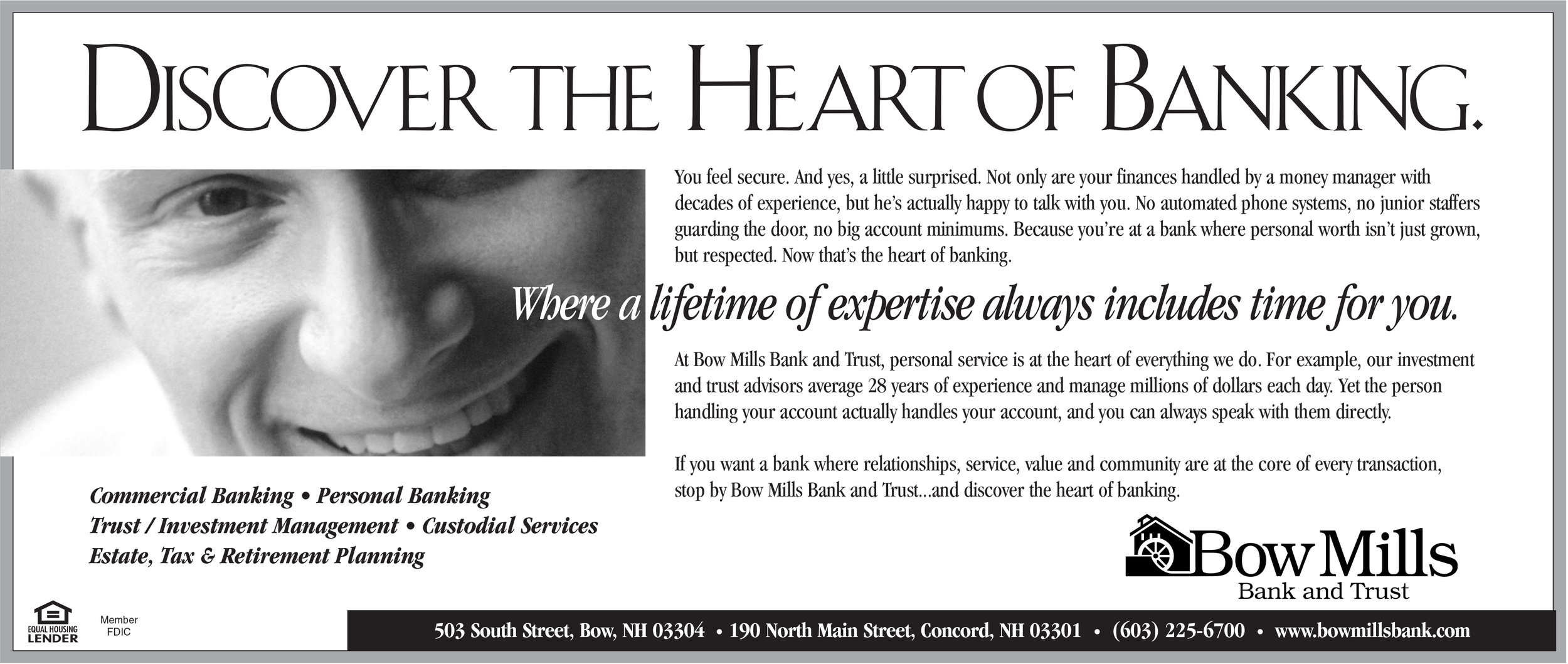 "Bow Mills Bank and Trust - ""Heart of Banking"" Ad"