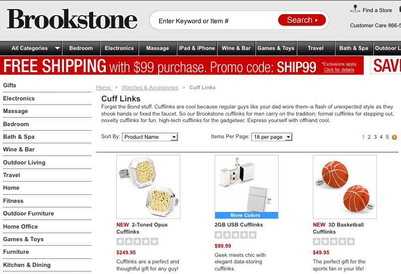 Brookstone - SEO Category Page