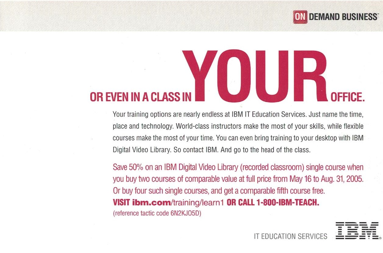 Mailer for IBM IT Education Services - Panel 4