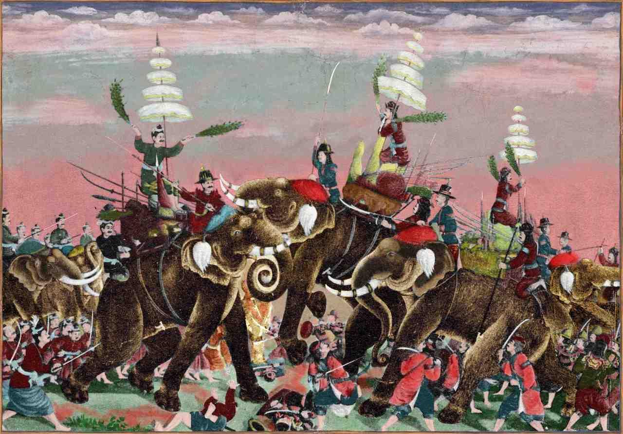 King Naresuan during the Elephant battle against the Burmese in 1593.jpg