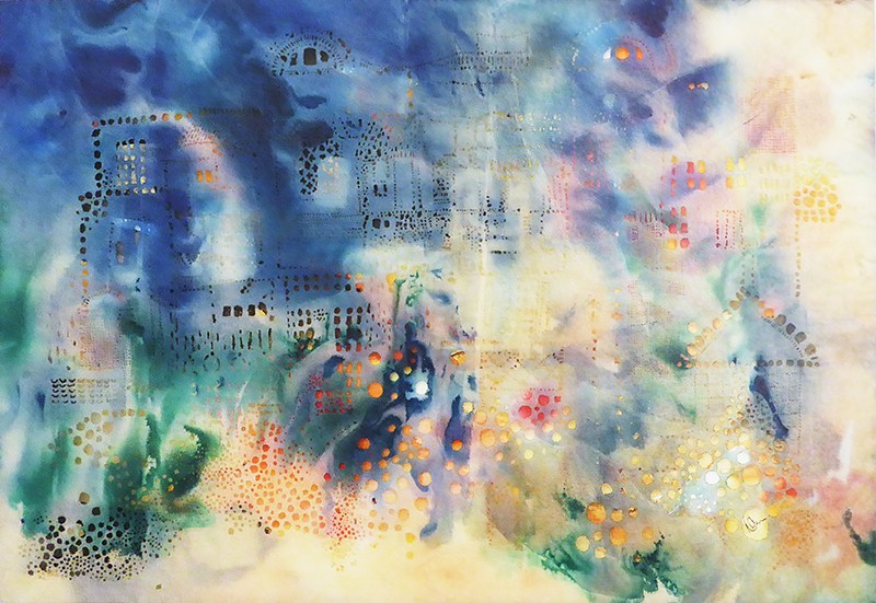 Nicola Anthony, Windows in Downtown Yangon, Incense-burned calligraphy paper with ink drawing and gold leaf, 85cm x 115cm, 2016