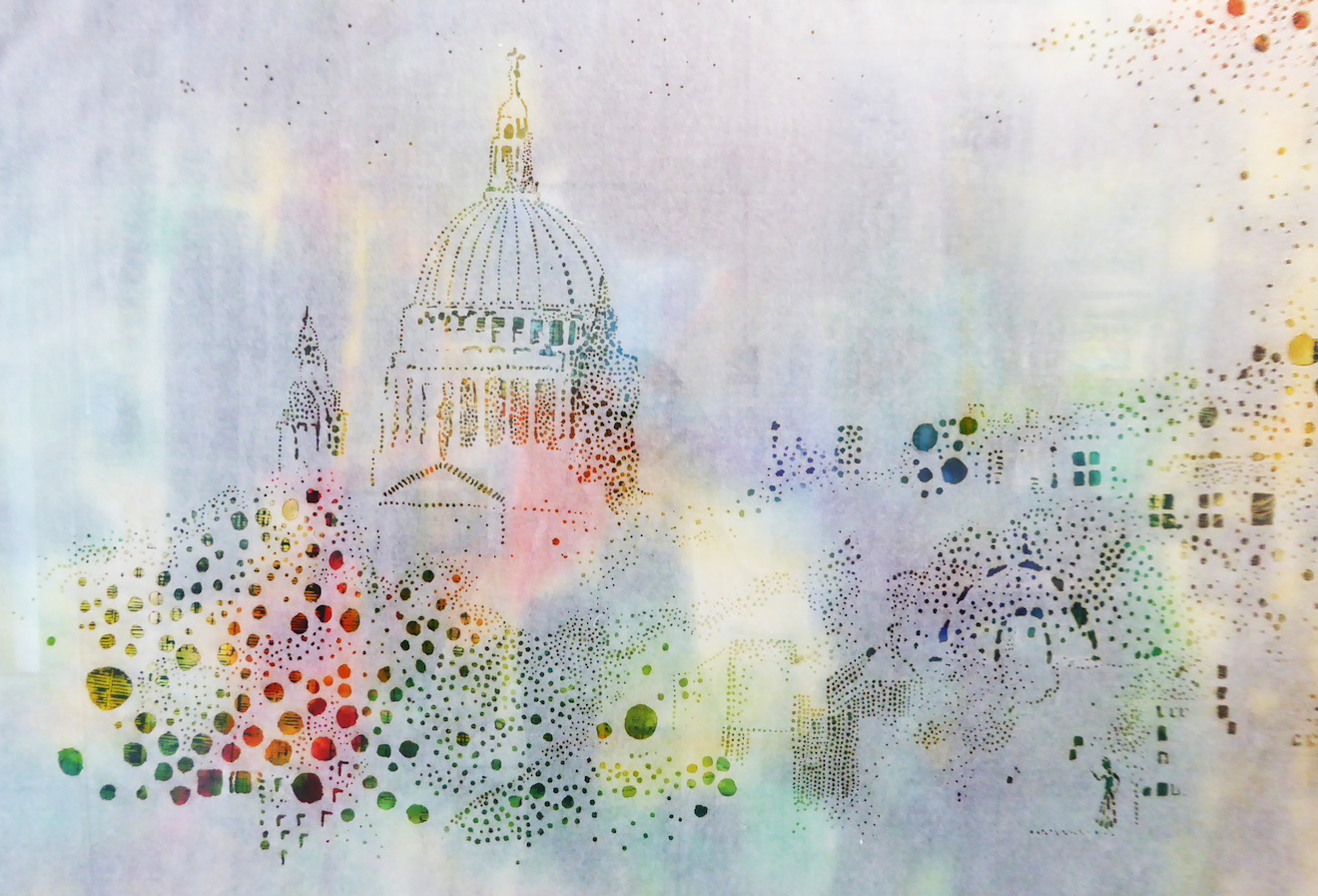 Nicola Anthony, Saint Paul's survives, Incense-burned calligraphy paper with ink drawing, 85cm x 115cm, 2016