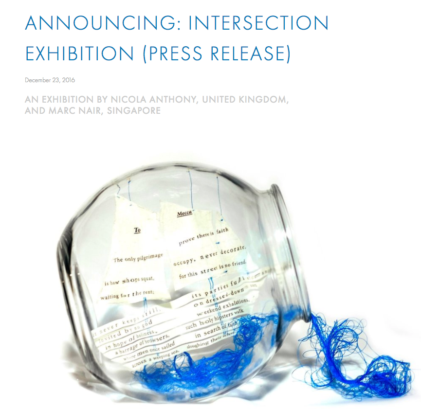 Nicola Anthony Artist Blog, Press release: Intersection, Nicola Anthony and Marc Nair, 23 December 2017