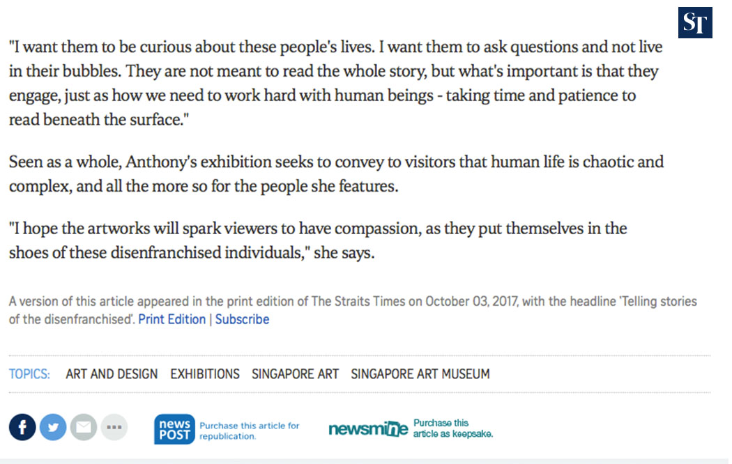 The Straits Times, Disenfranchised Singaporeans tell stories for Human Archive Project, 03/10/17