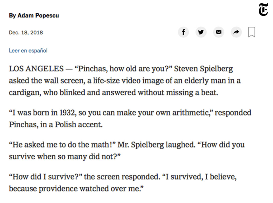 The New York Times, Steven Spielberg on Storytelling's Power to Fight Hate, 18/12/2018