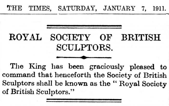 1911-01-07 The Times – RBS royal patronage announcement_Nicola Anthony_ Royal Society of Sculptors.jpg