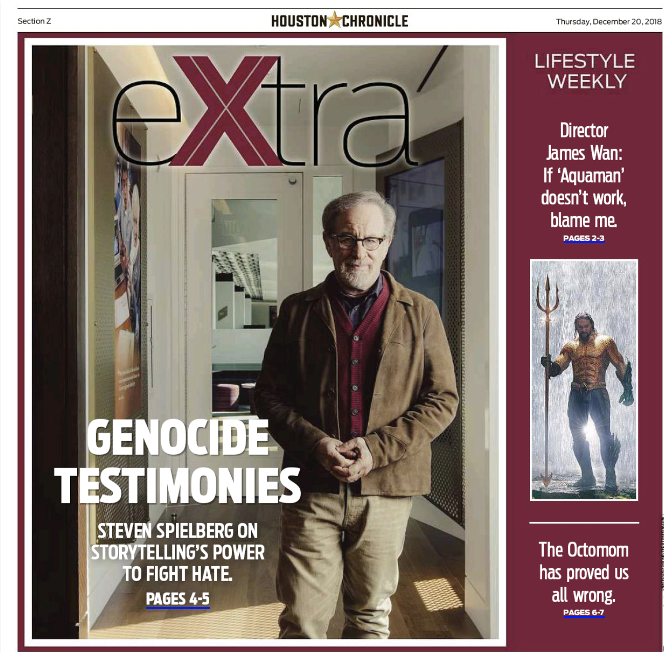 HoustonChronicle_Genocide-Testimonies-Steven-Spielberg-on-storytelling_s-power-to-fight-hate_20_12_18Cover