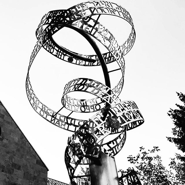 This #sculpture was unveiled in Aspen, #Colorado, last week. I am thrilled to introduce you to a new permanent public sculpture, 'The opposite of Love is Indifference', 2019.  Sponsored by Melinda Goldrich GOLDRICH FAMILY FOUNDATION  Created for Chabad Jewish Community Centre in #Aspen, and their amazing community. Thank you to all involved for your amazing support, #inspiration and trust. . .  #publicart #metalsculpture #textart #textartist #textsculpture #stainlesssteelart #mountains #britishartist #nicolaanthony .#collectart #gallery #contemporaryArt #commissionart #femalesculptor #femaleartist #fineart #womanartist #wordsculptors #writer #words #contemporaryArt  #artistcommission #sculptureartist #artsculpture #investmentart #artistsoninstagram . .