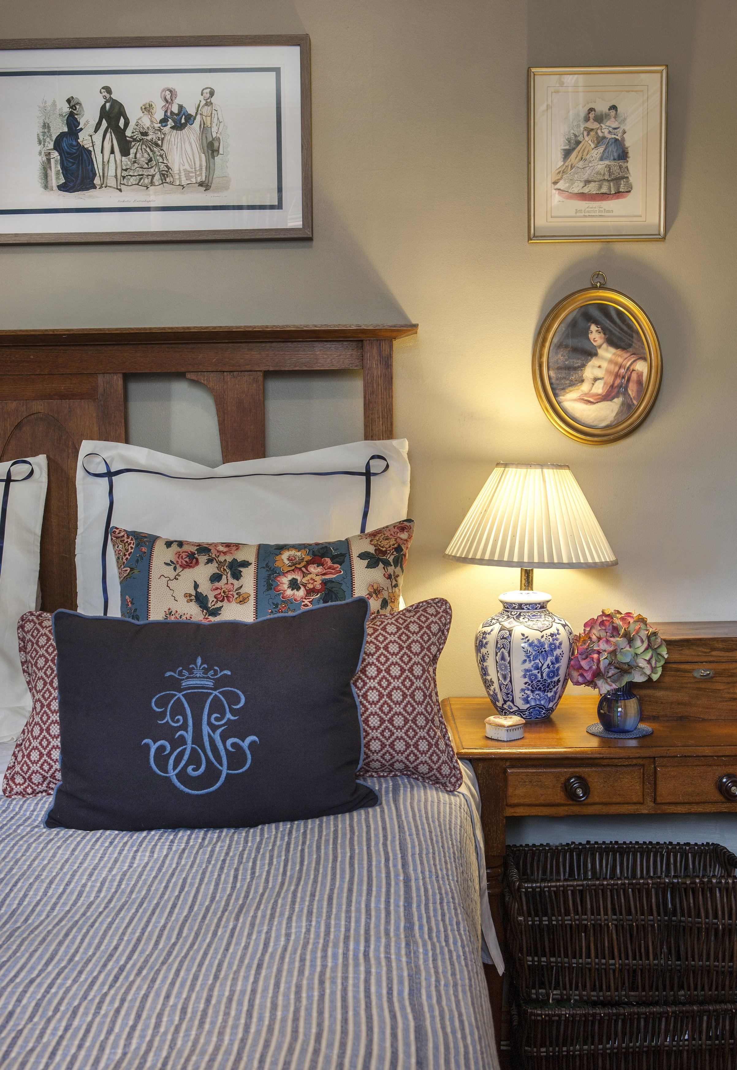 Carrie Deverson Interiors Main Bedroom Cottage Pillows Cushions Colefax and Fowler