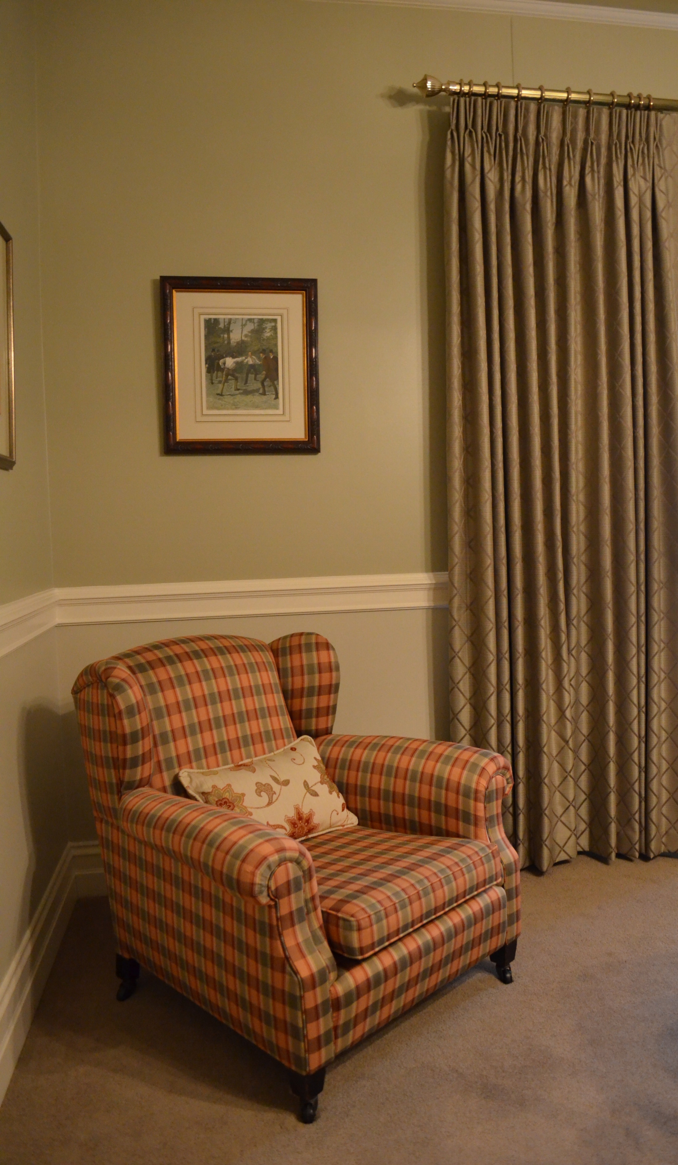 Carrie Deverson Interiors Curtains check Wing Chair Adelaide Malvern Villa