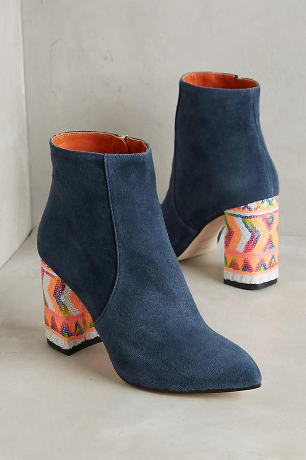 Suede Sequin Heel Boots by Bams