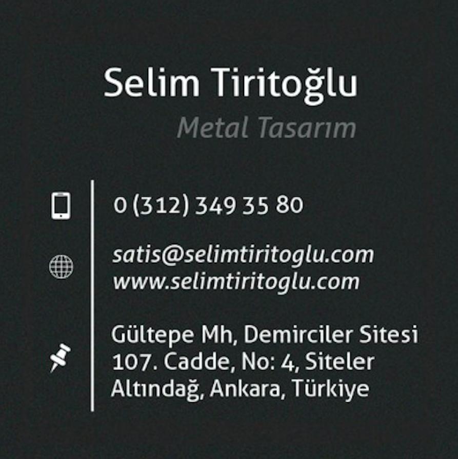 Selim Tiritoğlu Metal Tasarım Kartvizit İletişim
