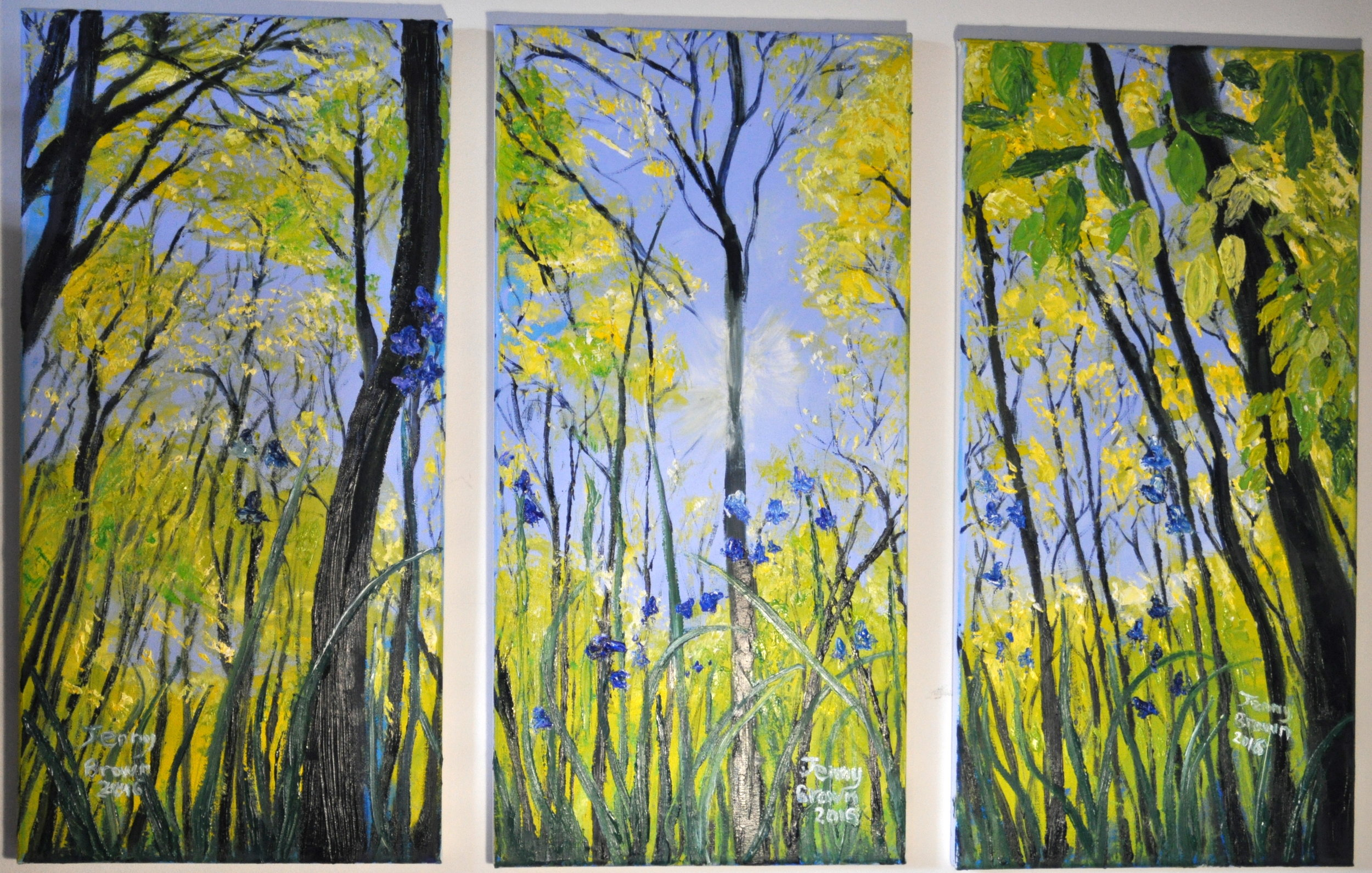 Woods in Spring Tryptch25x50cm Oil on 3 CanvasesSOLD