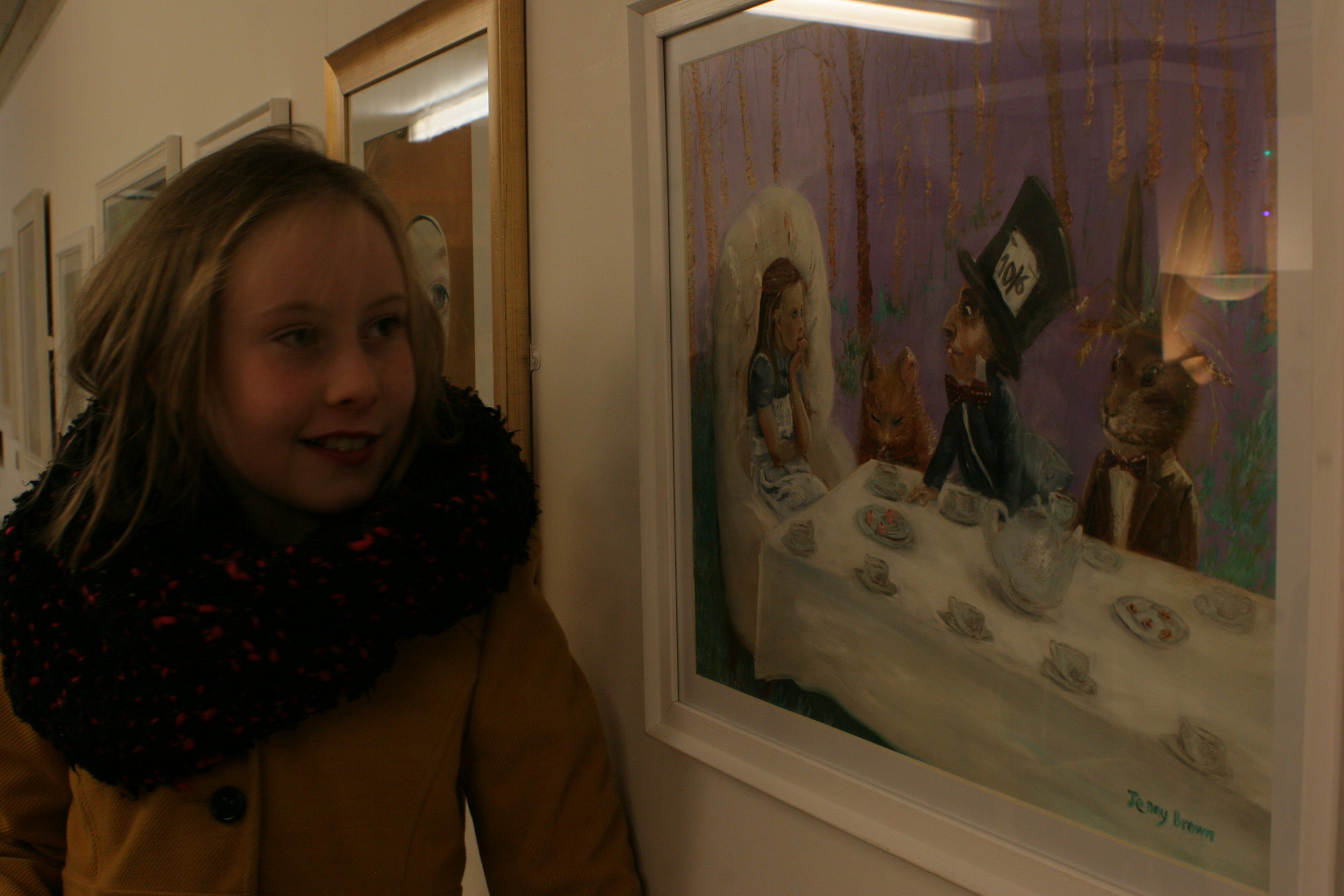 The model, Lily, enjoying the exhibition in North Ayrshire 2015.