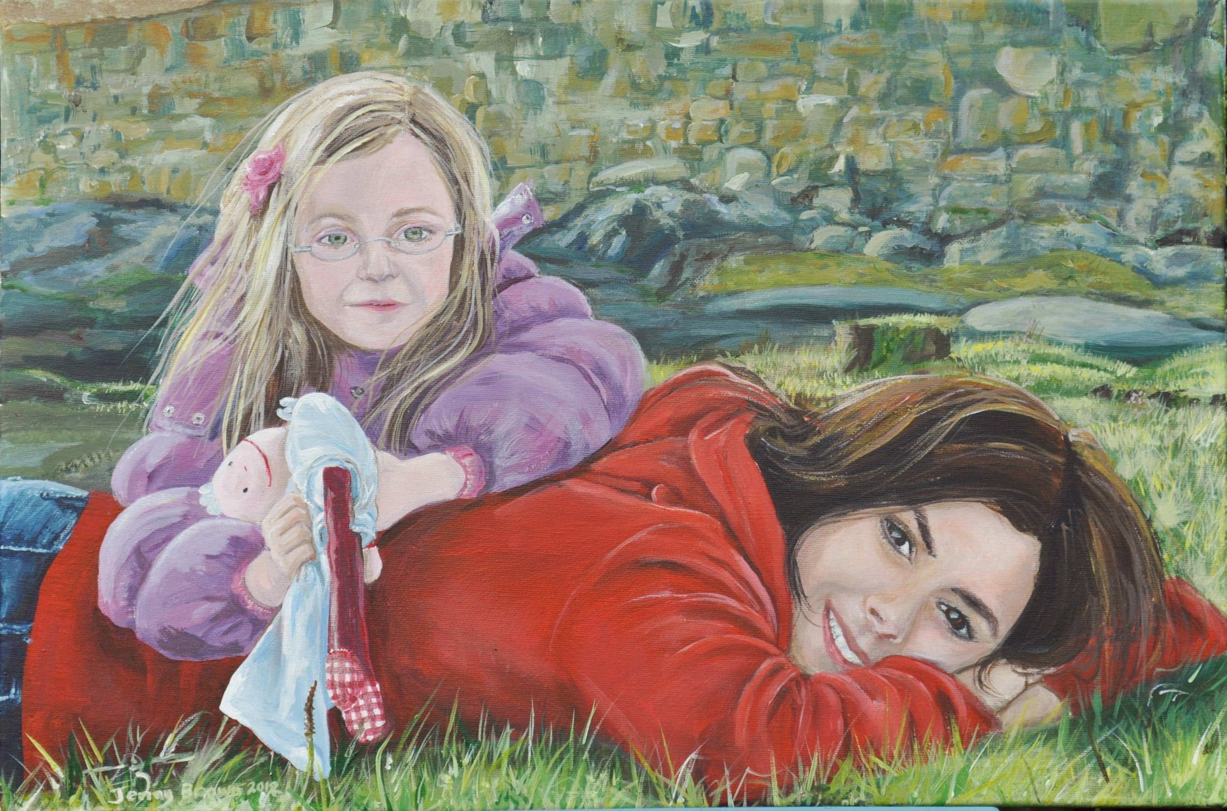Cousins at Play  Acrylic on Canvas  70x50 cm  SOLD
