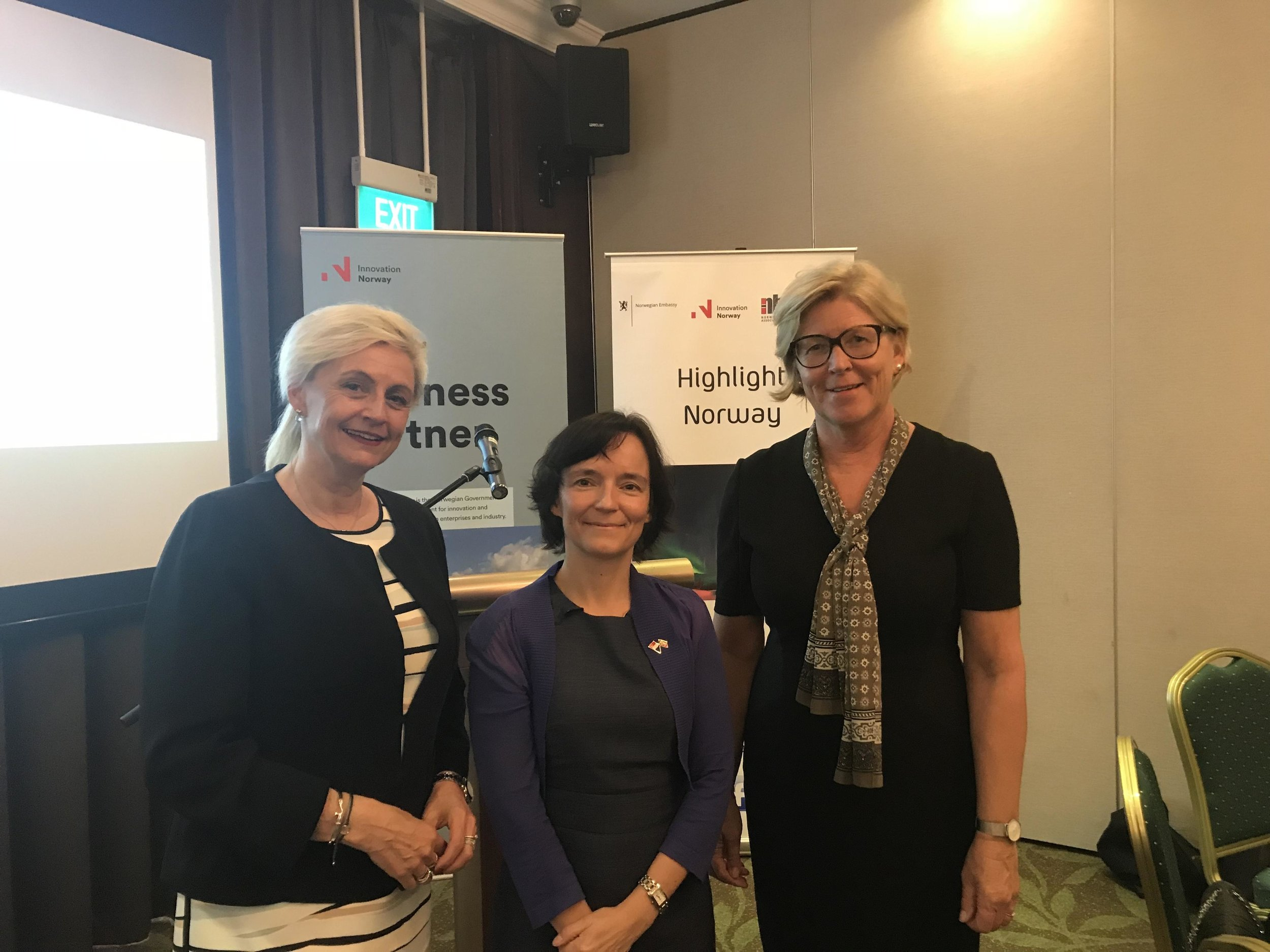 From right: Torunn Aas Taralrud, Head of Innovation Norway, Singapore, Anita Nergaard, Norway's Ambassador to Singapore. Turid E. Solvang, Founder/CEO FutureBoards