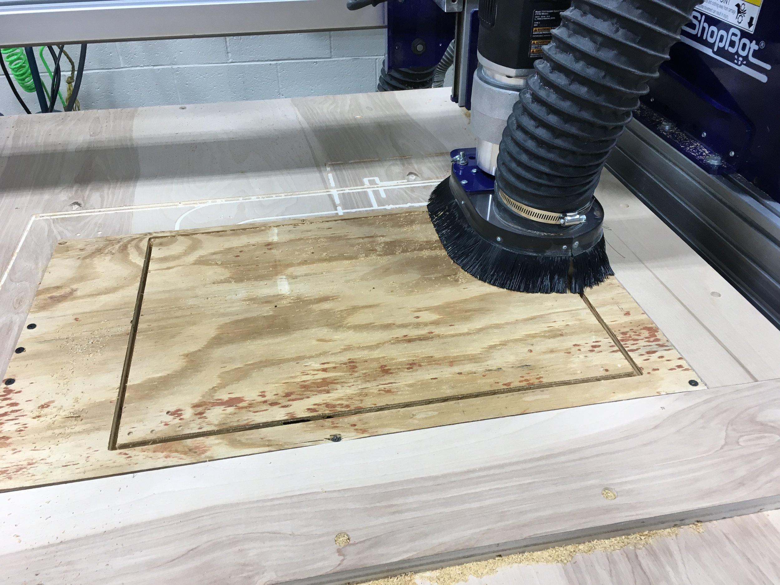 Cutting the pieces of the foot bath on the ShopBot.