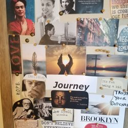 Raquele keeps a mood board in her office for constant inspiration and light.